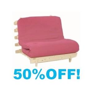 Single Futon 3ft wood base with Pink mattress