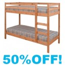 3ft Kids Zeta Single Solid Pine Bunk Bed