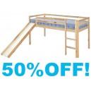 3 ft Single Alpha Bunk Bed with Slide - Natural Pine