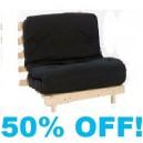 Single 3ft BLACK Futon Wood Base Mattress