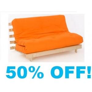 Double ORANGE Futon 4ft  6in wood base mattress