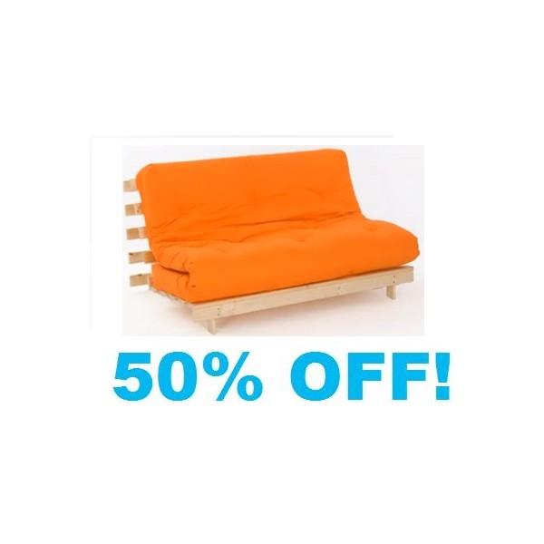 double orange futon 4ft 6in wood base mattress double orange futon  rh   furnitureforliving