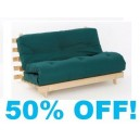 Double GLADE GREEN Futon 4ft  6in wood base mattress