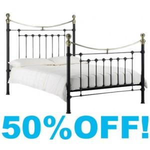 4ft 6 Verena Black Satin and Brass Metal Bed