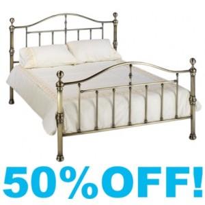4ft 6 Verena Brass Metal Bed