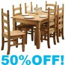 Calvi 5ft Dining Table in Rustic Pine