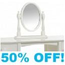 Corina Cameo Mirror in Stone White