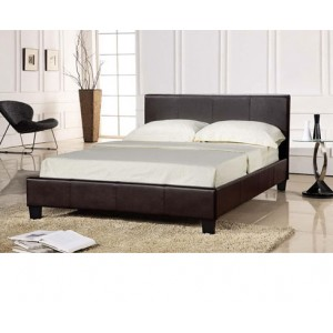 5FT KING SIZE ALPHA FAUX LEATHER BED FRAME - IN BLACK