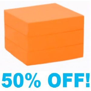 Single Chair Bed Foam Cube - With Orange Cotton Cover