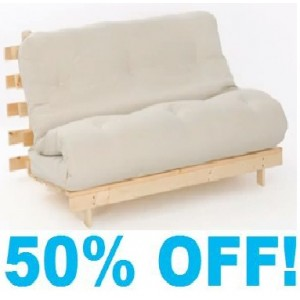 4ft6 (14cm) Double Tufted Cream Futon Mattress - With Wood Frame