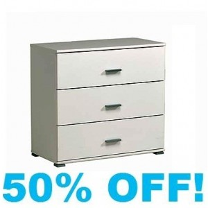 Ignace 3 Wide Chest of Drawers in White